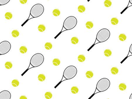 テニス ラケットとボールの背景のシームレス パターン 2