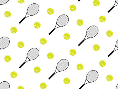 Tennis Raquet and Ball Background Seamless Pattern 2 Vector