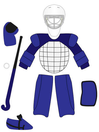 Field Hockey Goalkeeper Equipment Kit Vector
