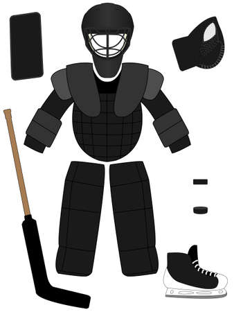 Ice Hockey Goalkeeper Equipment Kit Illustration