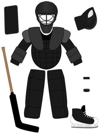 goal cage: Ice Hockey Goalkeeper Equipment Kit Illustration