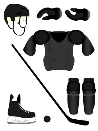 defense equipment: Hockey sobre hielo Equipo de Jugador Kit Vectores