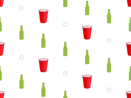 Beer Pong Background Seamless Pattern