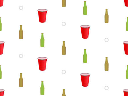 Beer Pong Background Seamless Pattern  Vector