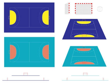 Handball Court with Sections and Perspective