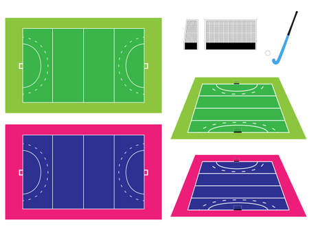 Hockey Field with Perspective Vector