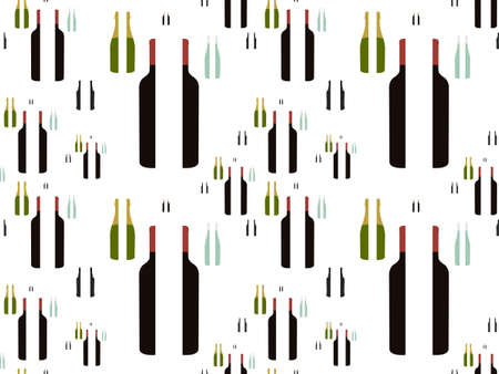 Bottles of Wine in Halves Background Seamless Pattern Stock Vector - 15401177