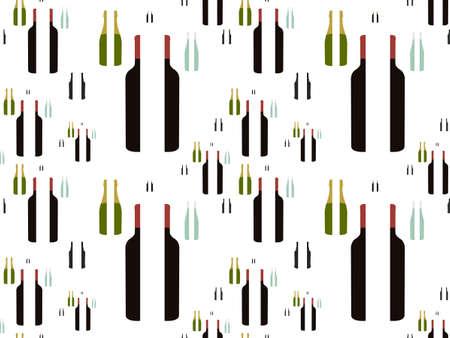 Bottles of Wine in Halves Background Seamless Pattern Stock Vector - 15401177