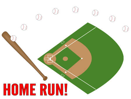 baseball diamond: Baseball Home Run Illustration
