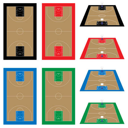 offensive: Set of Basketball Courts in Different Colours