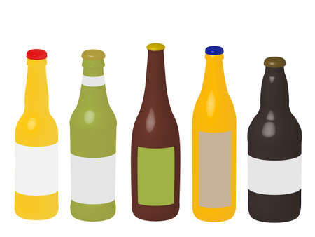 Different Kinds of Beer Bottles 3D Stock Vector - 15534414