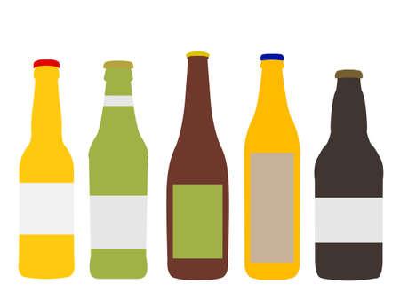 Different Kinds of Beer Bottles Illustration