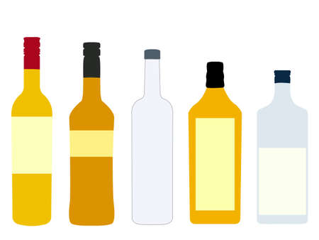 Different Kinds of Spirits Bottles Vector