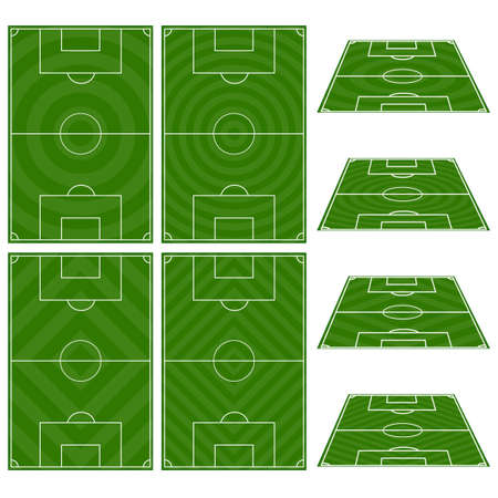 offside: Set of Football Fields with Circular and Diagonal Patterns Illustration