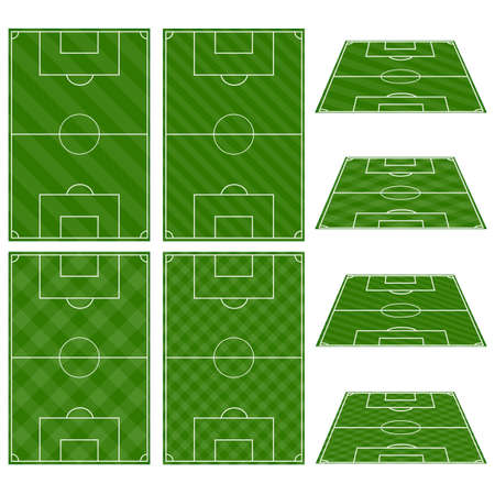 Set of Football Fields with Diagonal Patterns Ilustração