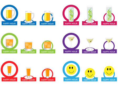 Happy Hour Tags Vector