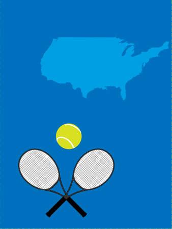 raquet: Tennis Map United States Illustration