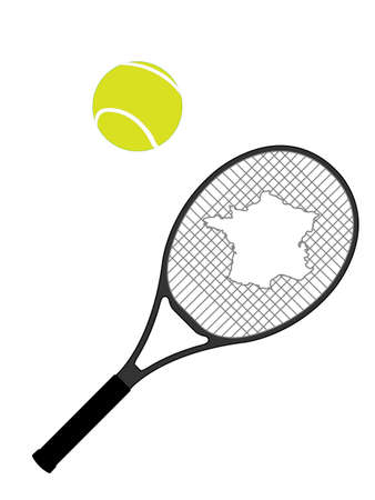 hard court: Tennis Racket France Illustration