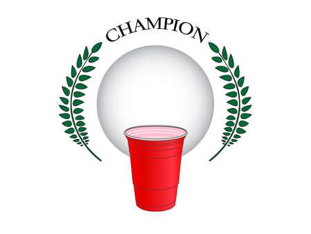 ビール卓球チャンピオン  イラスト・ベクター素材