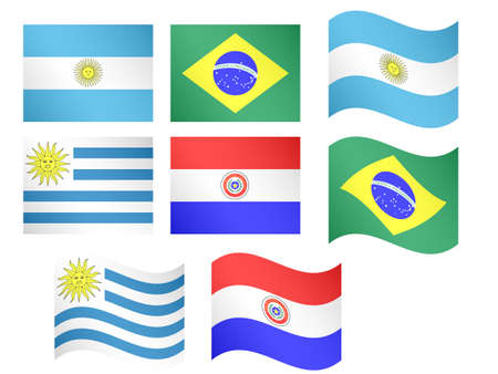 South America Flags Argentina Brazil Uruguay Paraguay with Coats of Arms Vector
