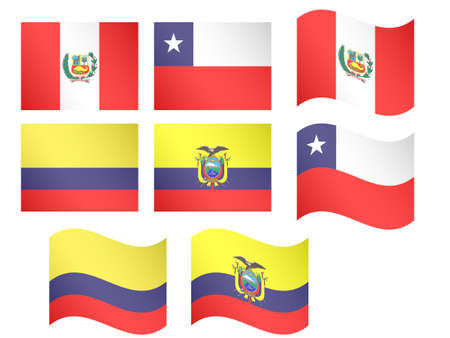 South America Flags Peru Chile Colombia Ecuador with Coats of Arms