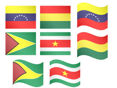 South America Flags Venezuela Bolivia Guyana Suriname with Coats of Arms  Illustration