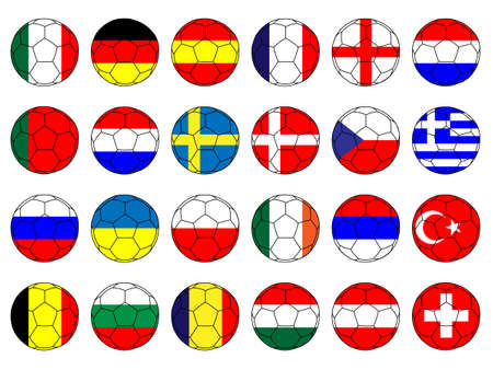 qualify: Footballs with Flags of Europe Illustration