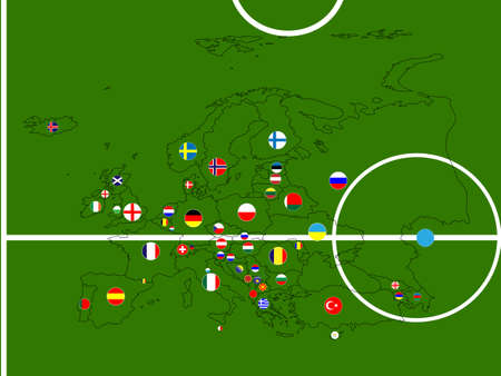 Europe Football Map Circles Illustration