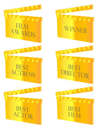 Film Winners Clapperboards Gold Illustration
