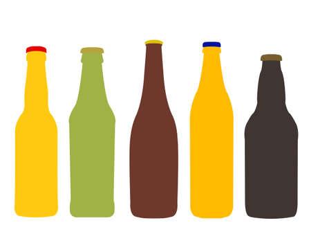 さまざまな種類のビール瓶ラベルなし