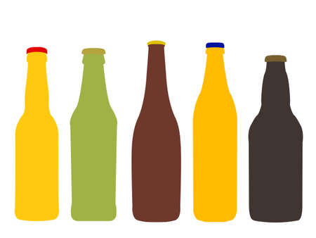 Different Kinds of Beer Bottles Without Labels Illustration
