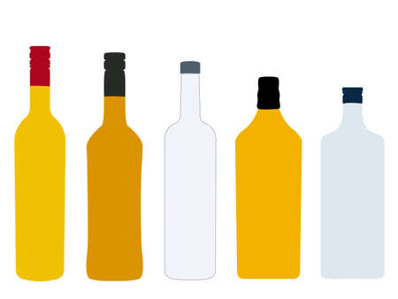 Different Kinds of Spirits Bottles Without Labels Illustration