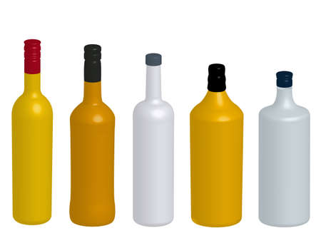 Different Kinds of Spirits Bottles Without Labels 3D Vector