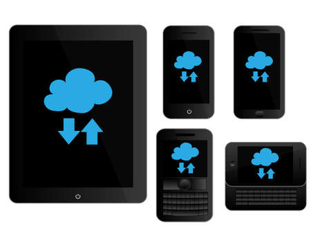 mobile devices: Mobile Devices Cloud Icons Black