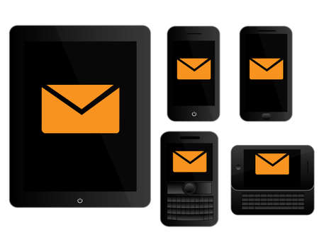 mobile devices: Mobile Devices Message Icons Black Illustration