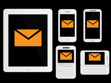 mobile devices: Mobile Devices Message Icons White