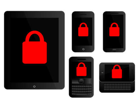 mobile devices: Mobile Devices Secure Icons Black Illustration