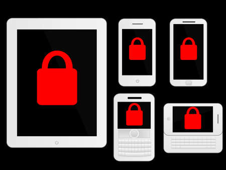 mobile devices: Mobile Devices Secure Icons White