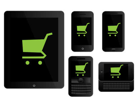 mobile devices: Mobile Devices Shopping Icons Black Illustration