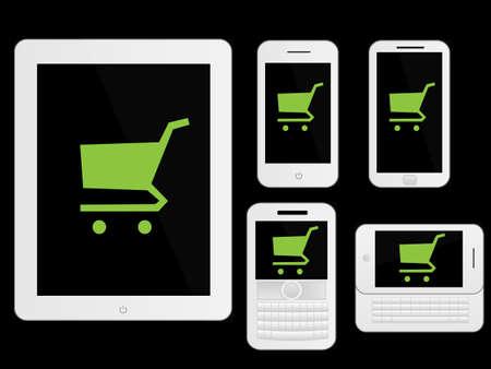 Appareils mobiles icônes Shopping Blanc Banque d'images - 20991204