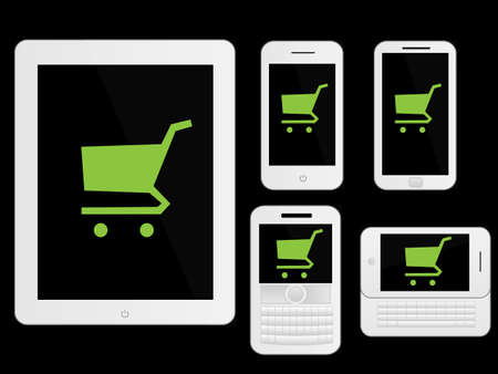 mobile devices: Mobile Devices Shopping Icons White