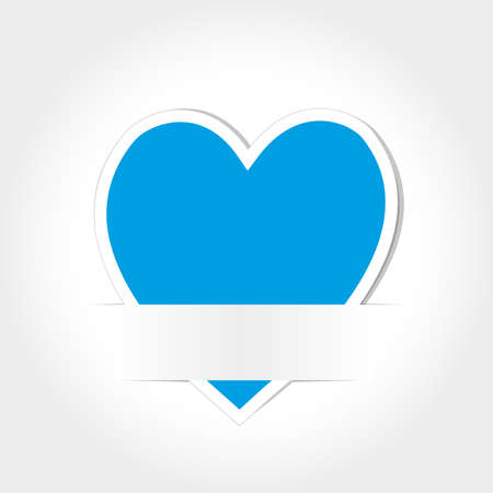 Blue Heart Paper Card Vector
