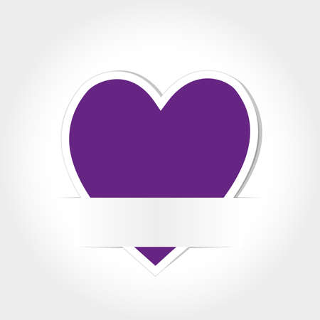 Purple Heart Paper Card Vector