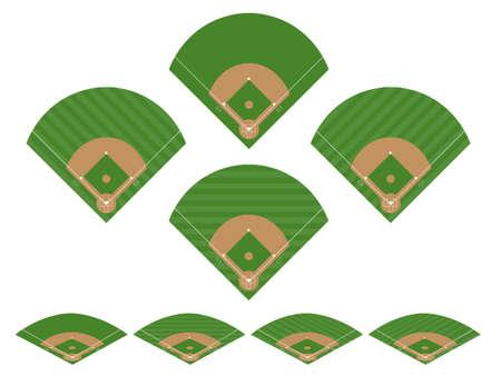 野球場 2 のセット  イラスト・ベクター素材