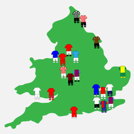 English League Clubs Map 2013-14 Premier League Illustration