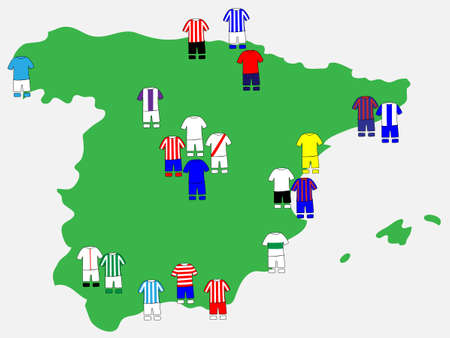 Spanish League Clubs Map 2013-14 La Liga Vector