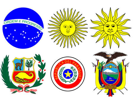 onu: Coats of Arms of South America Flags Illustration