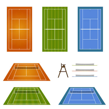 hard court: Set of Tennis Courts 2