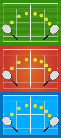 hard court: Tennis Illustrations