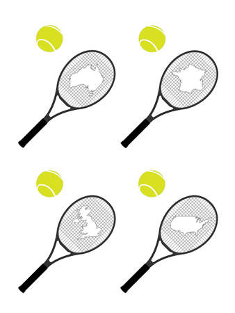 hard court: Tennis Rackets with Maps